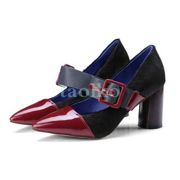 Donna Block Buckle Pelle Pumps Pointy Toe Spring Party High Block Donna Heels Shoes New sZ 6d7bd4