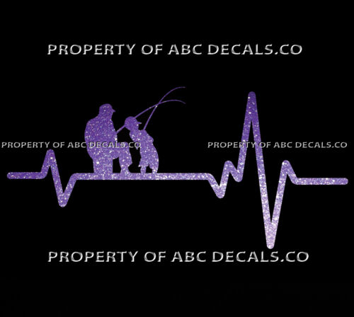 VRS Heart Beat Line Fishing Father Dad Son Fish Rod Reel Lure CAR METAL DECAL
