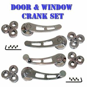 chrome door handle and window crank set universal for muscle cars classic cars ebay. Black Bedroom Furniture Sets. Home Design Ideas