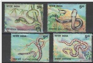 INDIA-2003-Snakes-Fauna-Animals-Nature-cobra-Python-Viper-stamp-set-MNH-4v