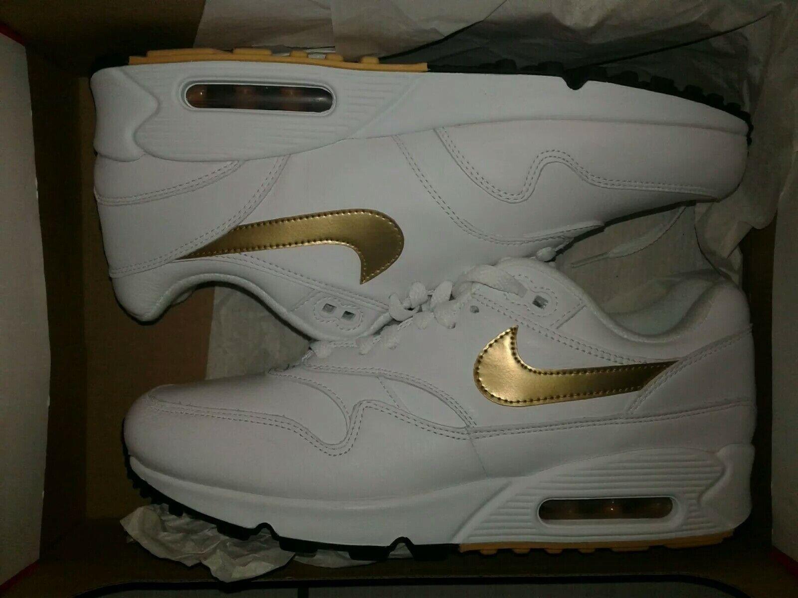 Air Max 90 1 White Metallic gold-Black AJ7695-102 Men's Size 9