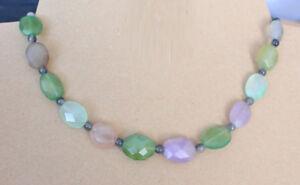 45 cm Herz Halskette schwarz grün Edelstein Kette Hämatit und Aventurin