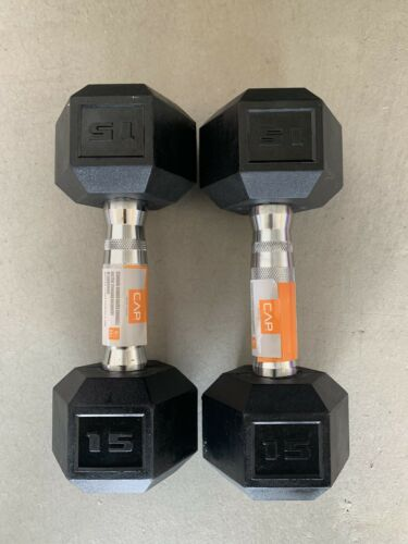 CAP Hex Rubber 15 lb Pound Set-30 Lbs Total-Dumbbell Free Weights NEW FREE SHIP