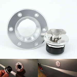 Silver-Aluminum-Billet-Fuel-Cell-Gas-Cap-6-Hole-Anodized-Flush-Mount-Universal