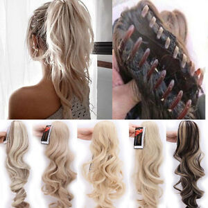 Us Ponytail Clip In Natural Hair Extensions Claw On Pony Tail Real