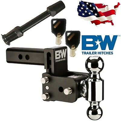 B/&W Hitches TS10037B Tow /& Stow Model 8 5-5.5 Adjustable Dual Ball Mount Hitch and 5//8 Black Receiver Hitch Lock