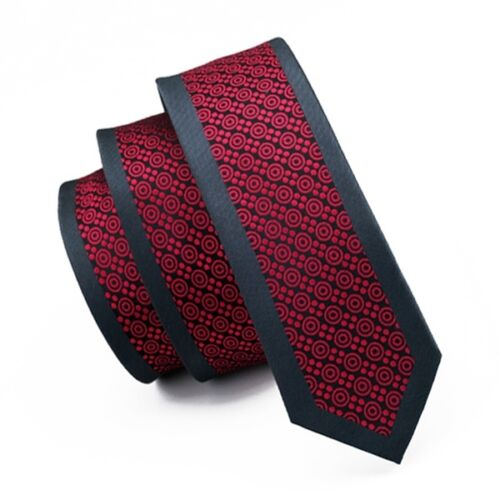 Red Men Skinny Tie Silk Slim Necktie Narrow Tie for Men Wedding Party Business