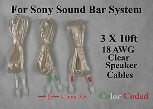 Fantastic 3X 10Ft 4 2Mm Speaker Cables Wire Made For Sony Sound Bar Ht Ct150 Wiring Digital Resources Sapebecompassionincorg