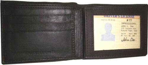 Leather man/'s Wallet 9 Card Holder 3 ID windows Billfold Wallet brand new.