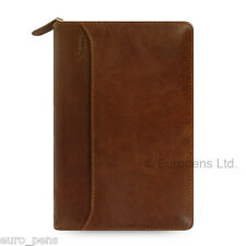 Filofax Personal Size Lockwood Leather Zipped Organiser - Cognac Brown (021692)
