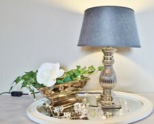 STEFFI 47cm Tischlampe Silber GRAU Keramik Tischleuchte Lampe KE-003TL