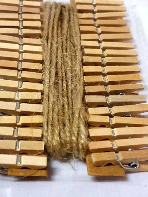 50m Jute Twine Crafts Lot 200x Wooden Pegs Wedding Hanging Photo Small Clips