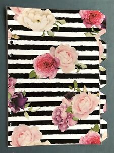 A5-Filofax-Organiser-Dividers-in-Beautiful-Rose-amp-Black-Stripe-Fully-Laminated