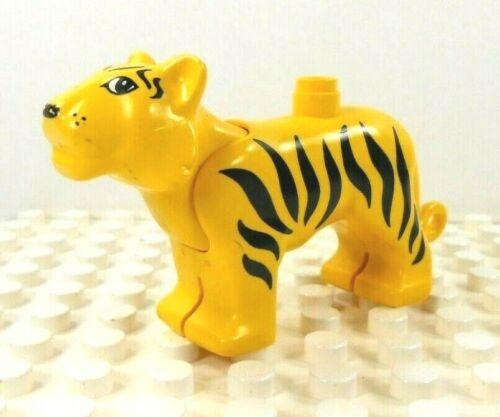 Lego Duplo Figure Tiger Yellow w// black stripes Head Moves