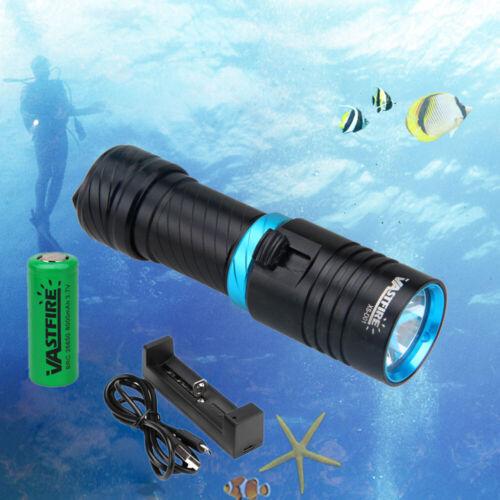 Underwater 150m XM-T6 LED 10000Lm Scuba Diving Light Flashlight Torch 26650 Lamp