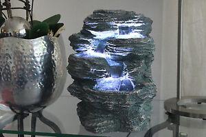 springbrunnen niagara mit 3x led beleuchtung zimmerbrunnen. Black Bedroom Furniture Sets. Home Design Ideas