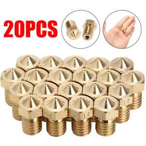20 pieces 0.4mm MK8 Extruder Nozzle Brass M6 For 1.75mm V5 V6 J-head 3D printer*