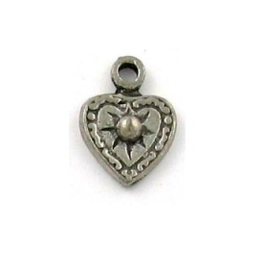 9x12x2mm HEART WITH SUN FINE PEWTER PENDANT CHARM