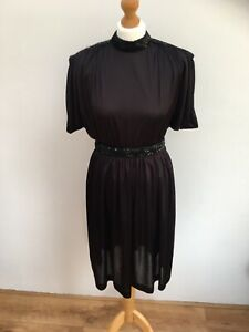 Vintage-80s-Dress-Black-Size-M-Goth-Retro-The-Cure-Emo-1920s-1930s-Style