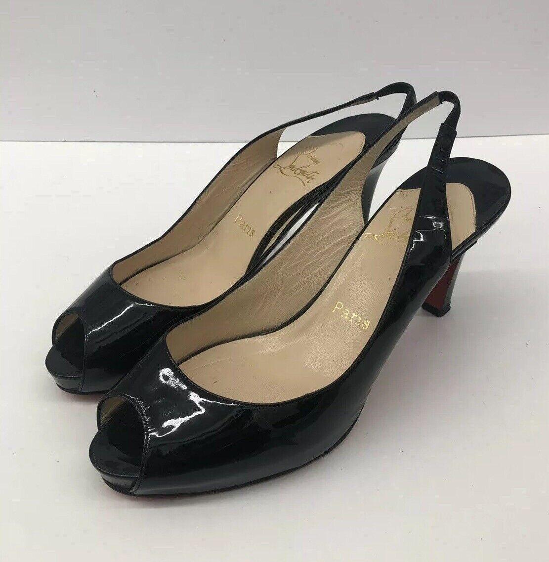 wholesape economico  740 Christian Louboutin Classic Classic Classic nero Patent Peep Heels donna Sz 40eu   10 us  la migliore selezione di