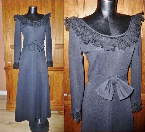 Vintage 70 S Origami Volants Nœud Jersey piqué Poly Rétro Noir Parti robe longue B16