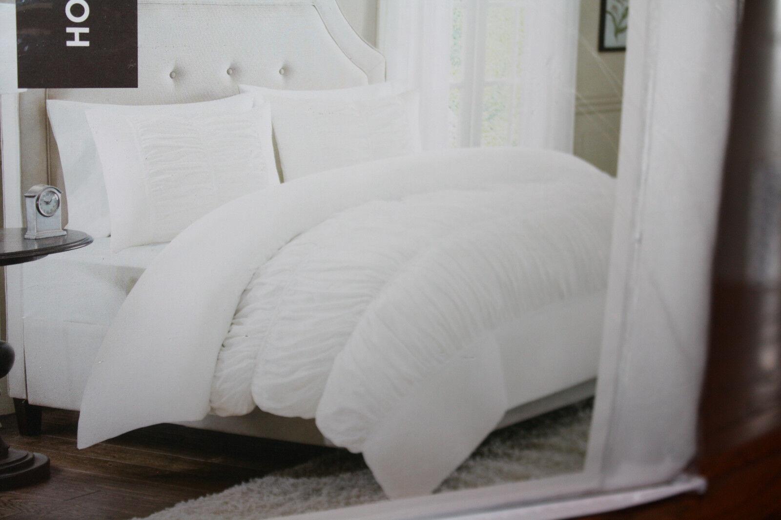 Home Essence Aviva King 3 Piece Duvet Set White with 2 King Shams NEW