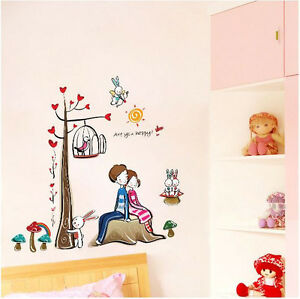Romantic Lovers Tree REMOVABLE Wall Stickers Home Decor Decals Art