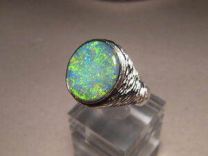 Large Mens Australian Opal Ring sterling silver Any Size can be