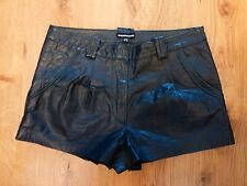petrol blue 100% leather hot pants shorts warehouse pockets  uk 10 12
