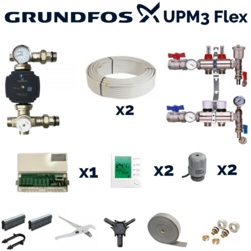 WATER UNDERFLOOR HEATING KIT FROM 21m² WET UFH WITH CONTROLS GRUNDFOS PUMP PACK