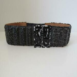 e8881319 Details about NWOT Fendi Black Coated Feather/Leather Wide Belt Size 75/30  $800