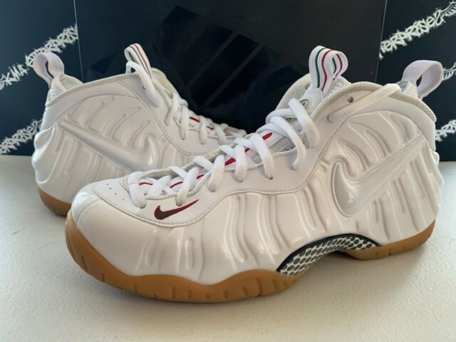 online store 077a5 78d1b Nike Air Foamposite Pro Winter White Gorge Green Red Shoes Mens 11.5 DS