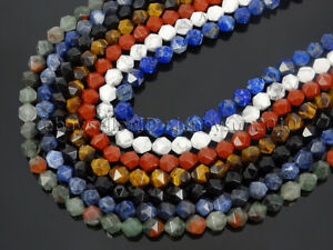 Natural-Gemstones-24-Faceted-Polygons-Spacer-Beads-14-5-039-039-Strand-6mm-8mm-10mm