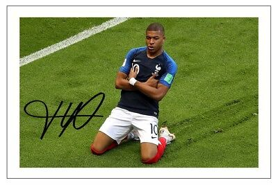 finest selection d8556 7ae23 KYLIAN MBAPPE FRANCE WORLD CUP 2018 SOCCER SIGNED AUTOGRAPH PHOTO PRINT |  eBay
