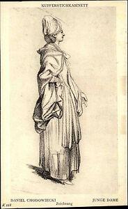 Alte-Kuenstlerkarte-1910-Museum-BERLIN-Zeichnung-Daniel-Chodowiecki-034-Junge-Dame-034