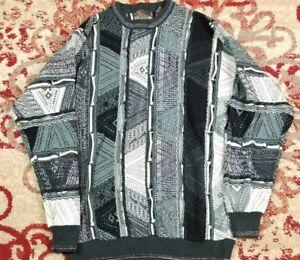 VTG-Le-Tigre-Herren-COOGI-Style-3d-strukturiert-90s-Pullover-Gr-L-Bill-Cosby-Biggie
