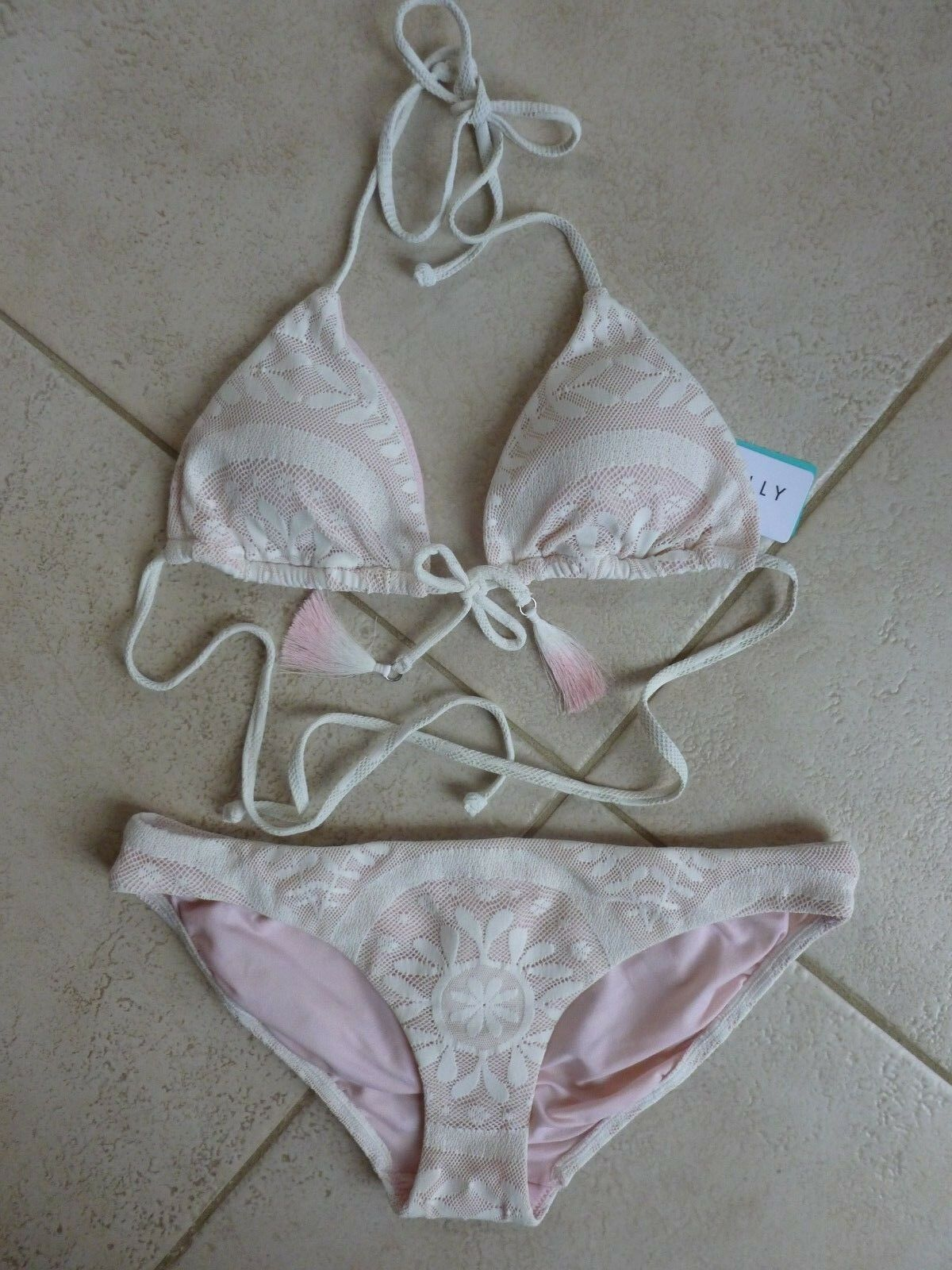 Lipsy Zig Zag Bikini Top Taglia Uk 12