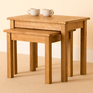 Image Is Loading Lanner Oak Nest Of Tables Solid Wood Side
