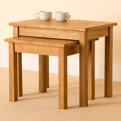 Lanner - Oak Nest of Tables  / Rustic Side Tables / Small Coffee Table Set