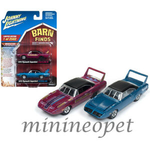 JOHNNY-LIGHTNING-JLPK002-BARN-FINDS-1970-PLYMOUTH-SUPERBIRD-1-64-SET-PINK-amp-BLUE