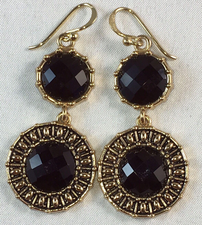 Studio Barse Faceted Onyx Gemstone Floral 2-Tone Hoop Earrings