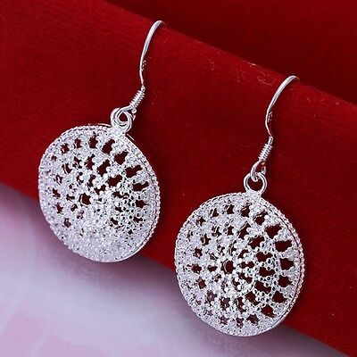 New Women 925 Sterling Silver Plated Hollow Circle Dangle Earring Studs Jewelry