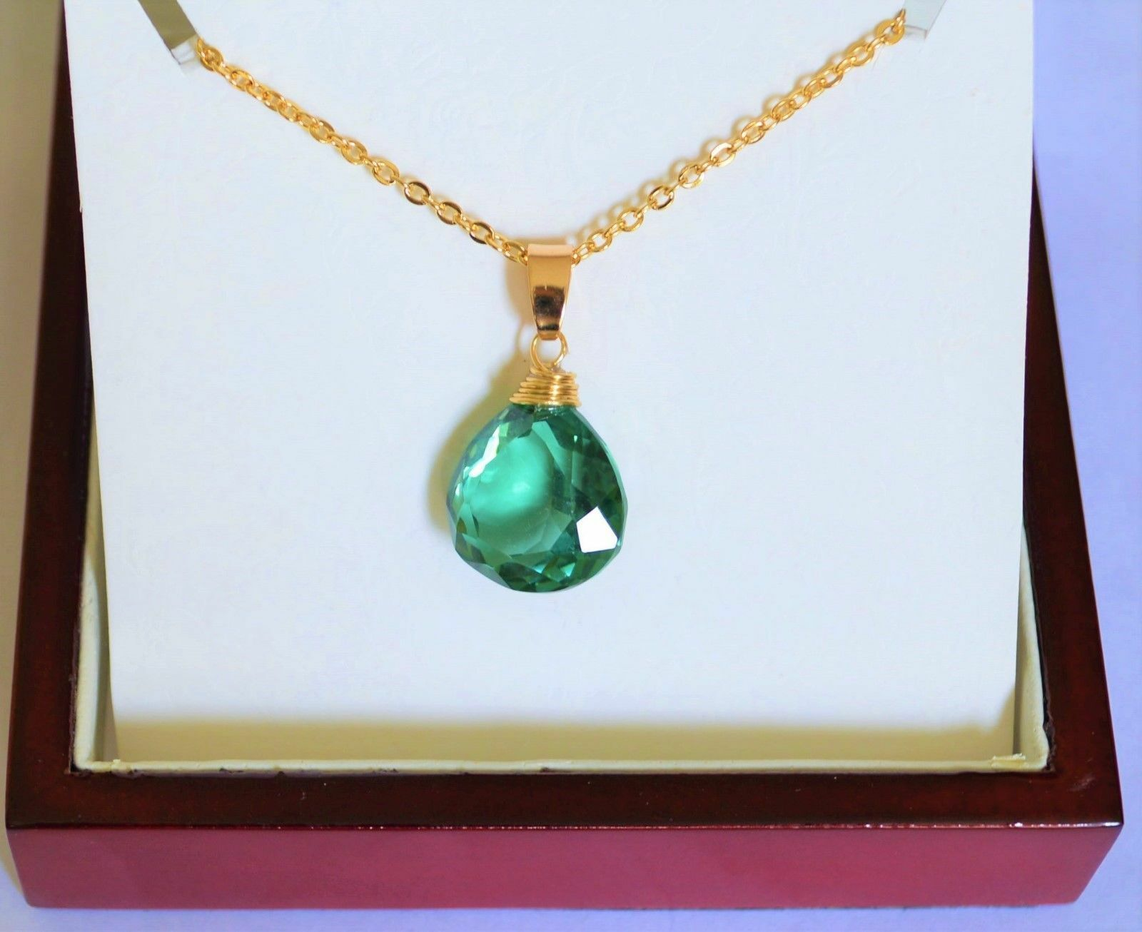 Natural Faceted Green Emerald Quartz Pear Wire Wrapped Yellow gold Pendant