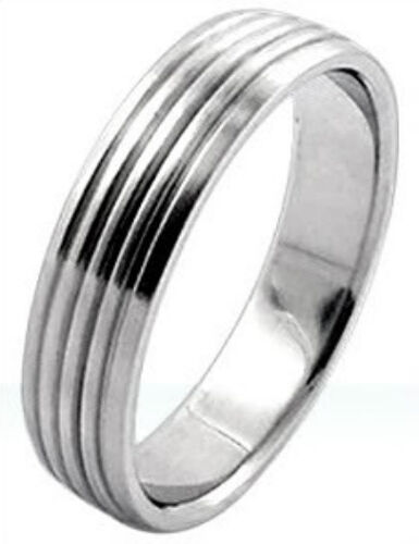 High Polished PLAIN STAINLESS STEEL RING BAND with Ribbed Accents size 13