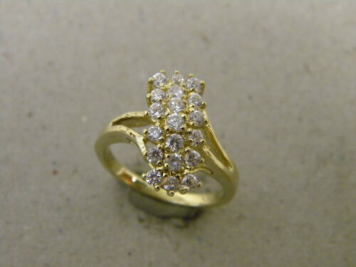 Lady/'s Women/'s Yellow Gold Rhodium Plated Cocktail Ring 19 Clear CZ/'s Size 7 New
