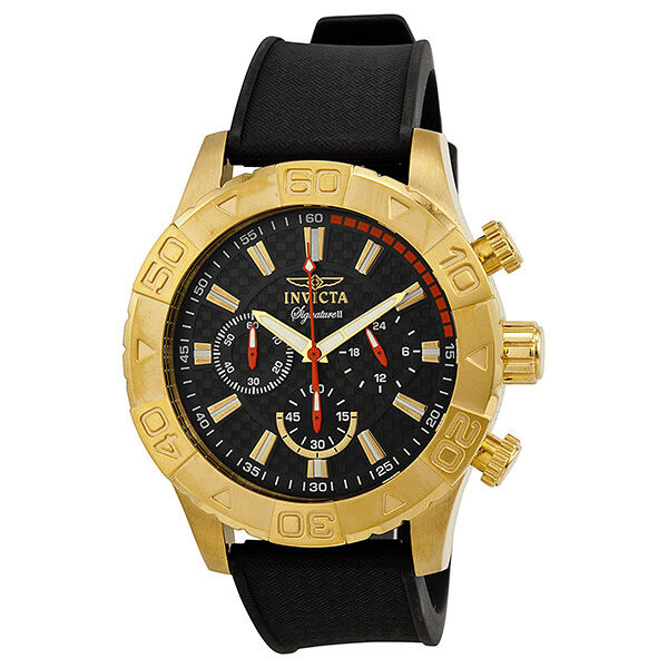 Invicta Signature II Chronograph Black Dial Black Polyurethane Mens Watch 7493