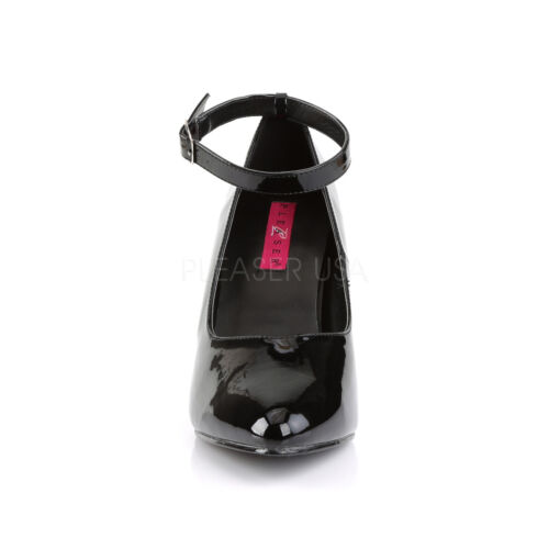 PLEASER PINK LABEL DREAM-431 BLACK PATENT WIDE FIT CLASSIC COURT SHOES