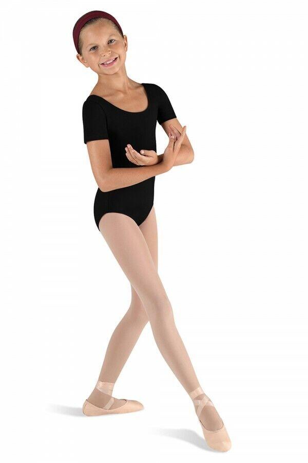 Bloch Ballet Short Sleeve Round Neck Leotard, Black, 2/4, BNWT