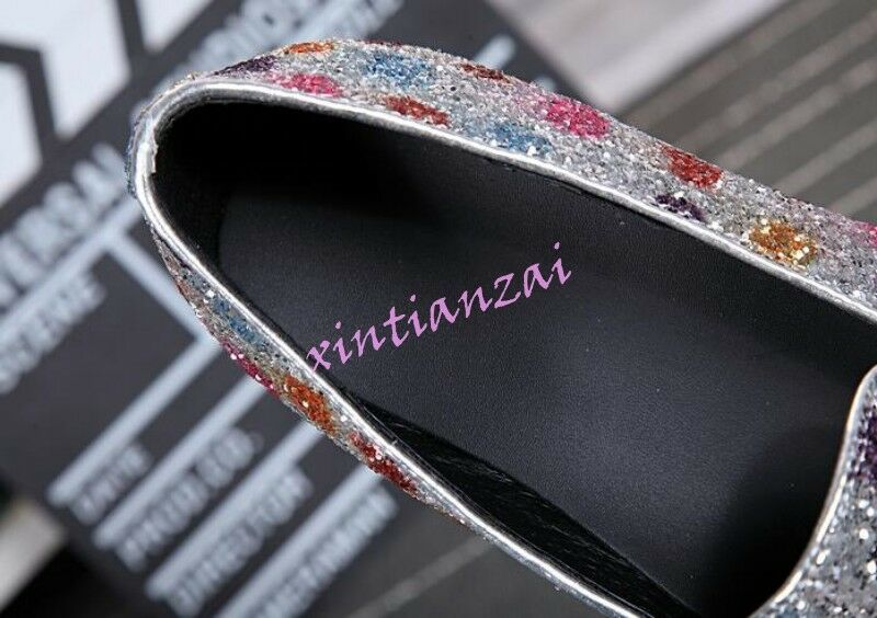 Uomo Bling Multi-color Sequins Flats Flats Flats Slip On Loafers Dress Clubwear Shoes Hot 92bce5
