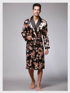 Dragon-Pattern-Silk-Men-039-Sauna-Shower-Bathrobe-Nightgowns-Sleepwear-Robes-Kimono